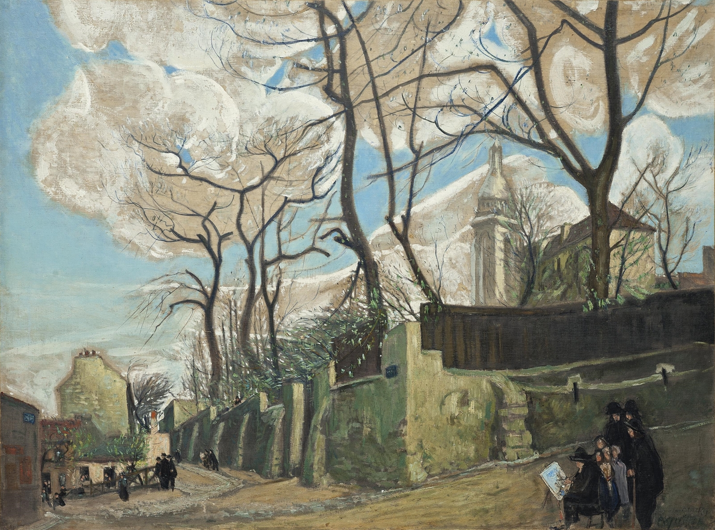 Alphonse Leon Quizet-Maurice Utrillo peignant le Lapin Agile-1910