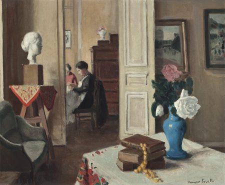 Francis Smith-Femmes cousant dans un interieur-