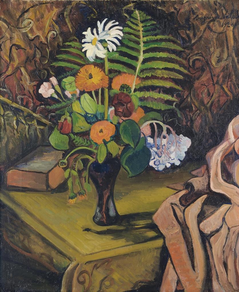 Suzanne Valadon-Vase de fleurs sur une table-1920