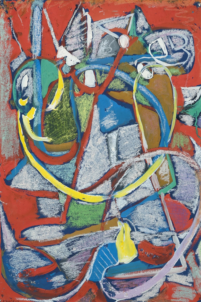 Andre Lanskoy-Composition sur fond rouge II-1965