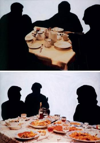 John Baldessari-One and Two Groups Dining-1990