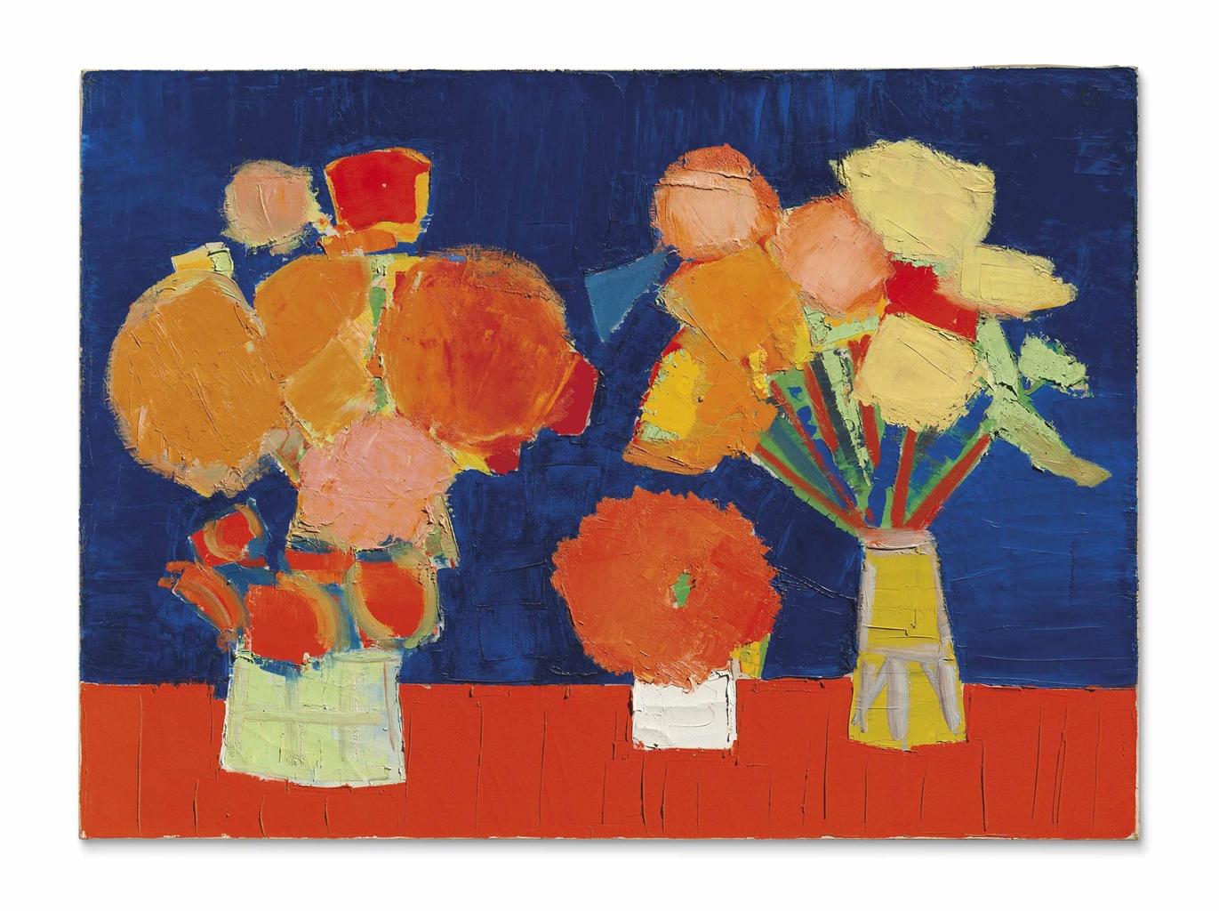 Nicolas de Stael-Deux Vases de Fleurs (Two Vases of Flowers)-1953