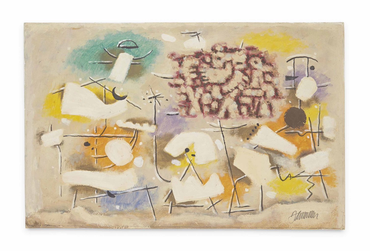 Willi Baumeister-Lyrik mit weissen Formen (Gelb-Orange) (Poetry with White Forms (Yellow-Orange))-1949