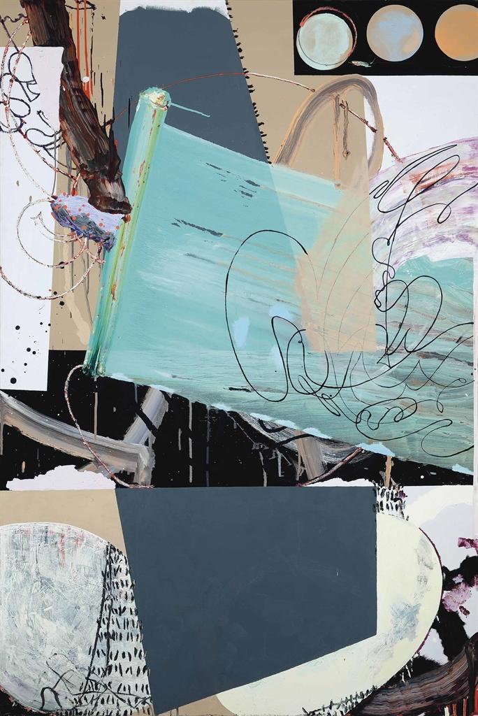 Fiona Rae-Untitled (green, purple & grey)-1992