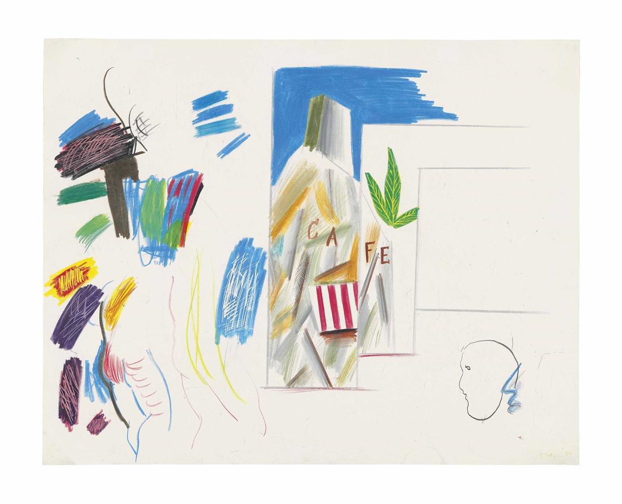 David Hockney-Cubist Cafe (from Parade Triple Bill)-1980