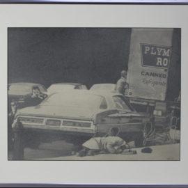 Maurice Phillips-Dead man on sidewalk-1975