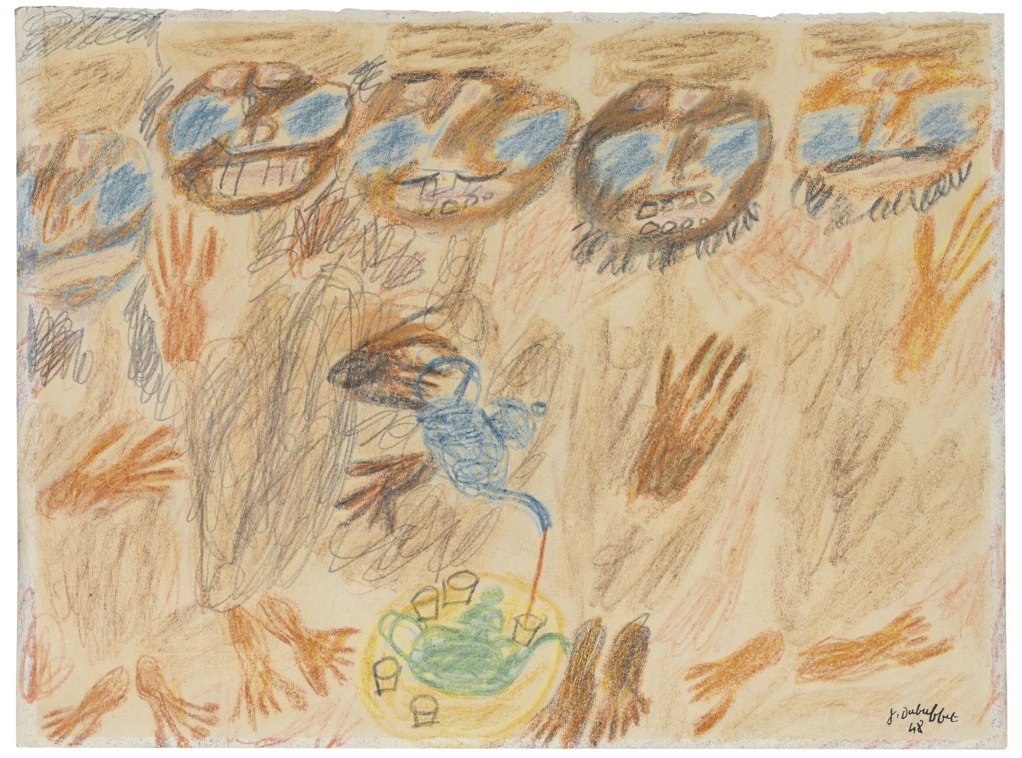Jean Dubuffet-Cinq Arabes Prenant Le The-1948