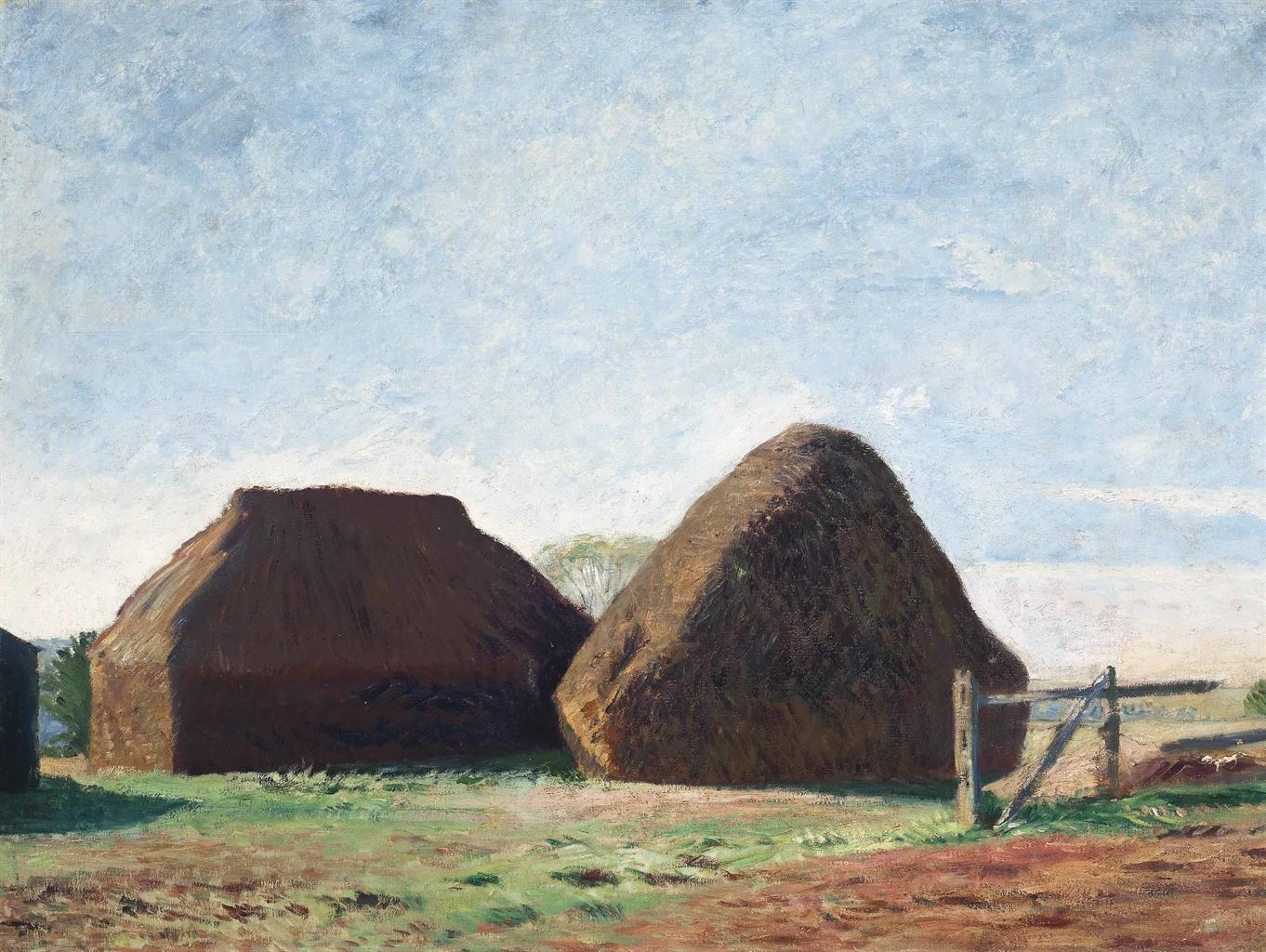 William Rothenstein-Haystacks in the sunlight-1930