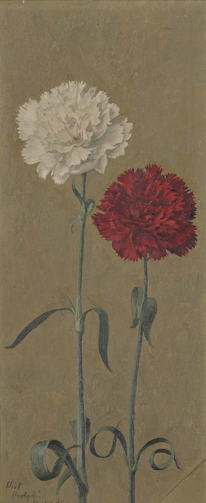 Eliot Hodgkin-Red and White Carnations-1968