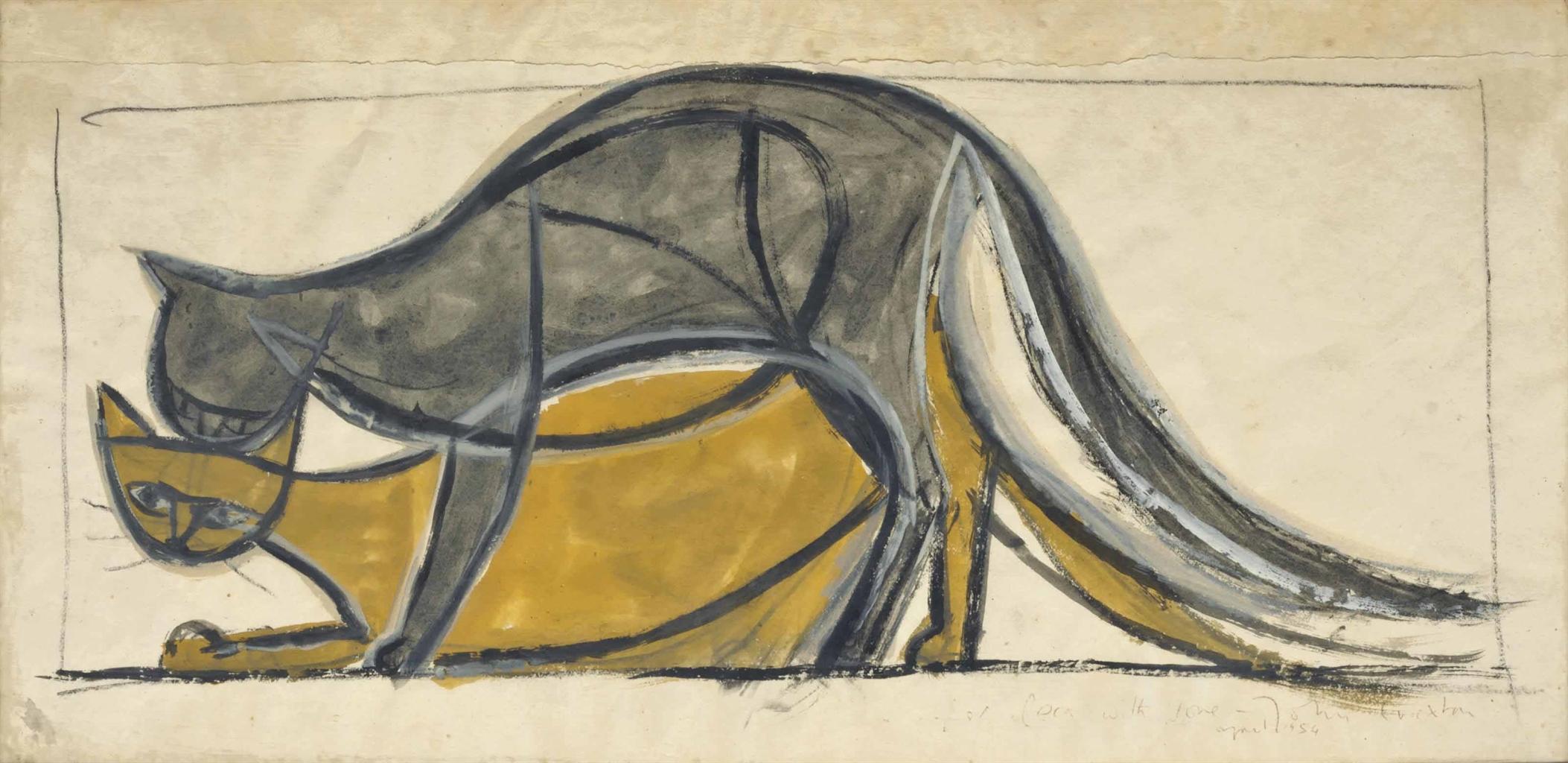 John Craxton-Cats-1954