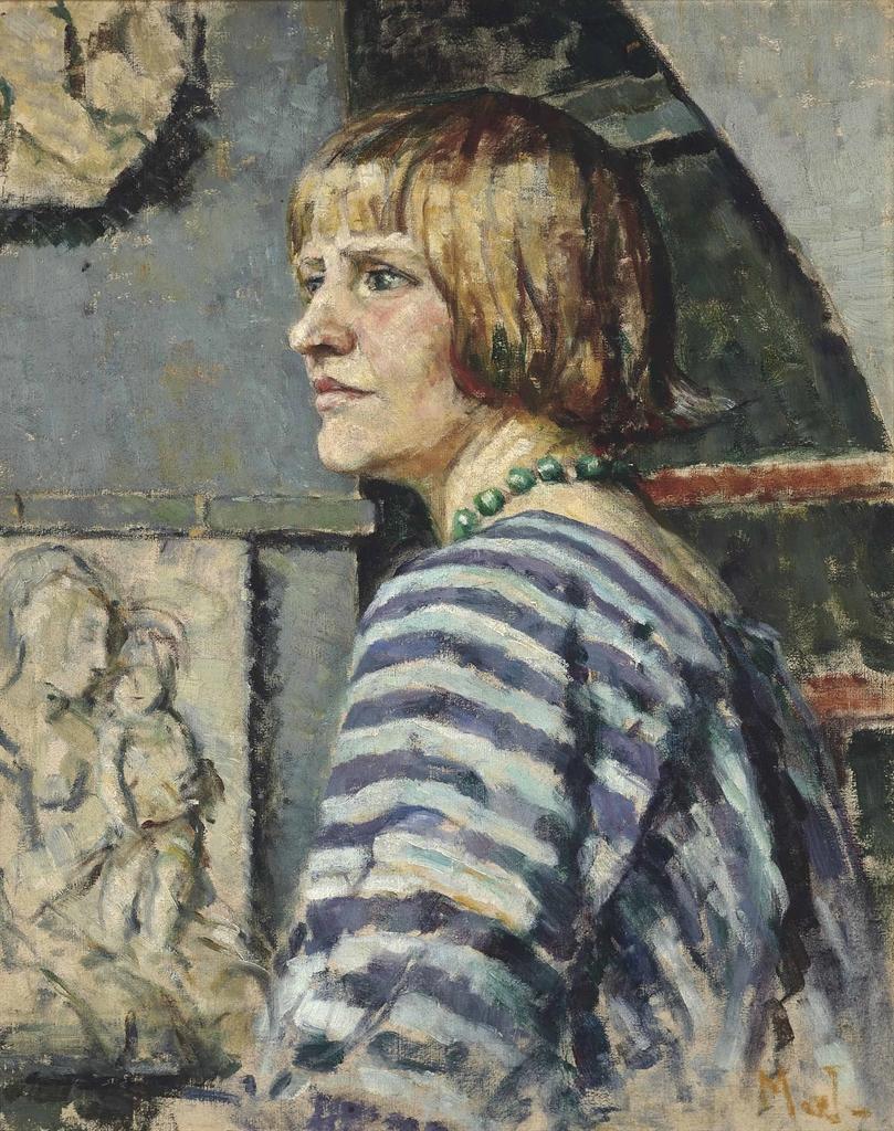 Mainie Jellett-Woman in a striped blouse-