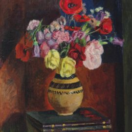 Vanessa Bell-Poppies in a vase on a pile of books-1950