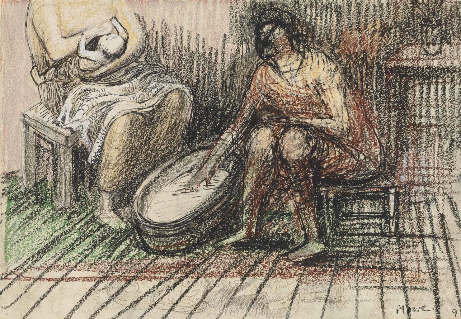 Henry Moore-Two Women Bathing a Child-1946