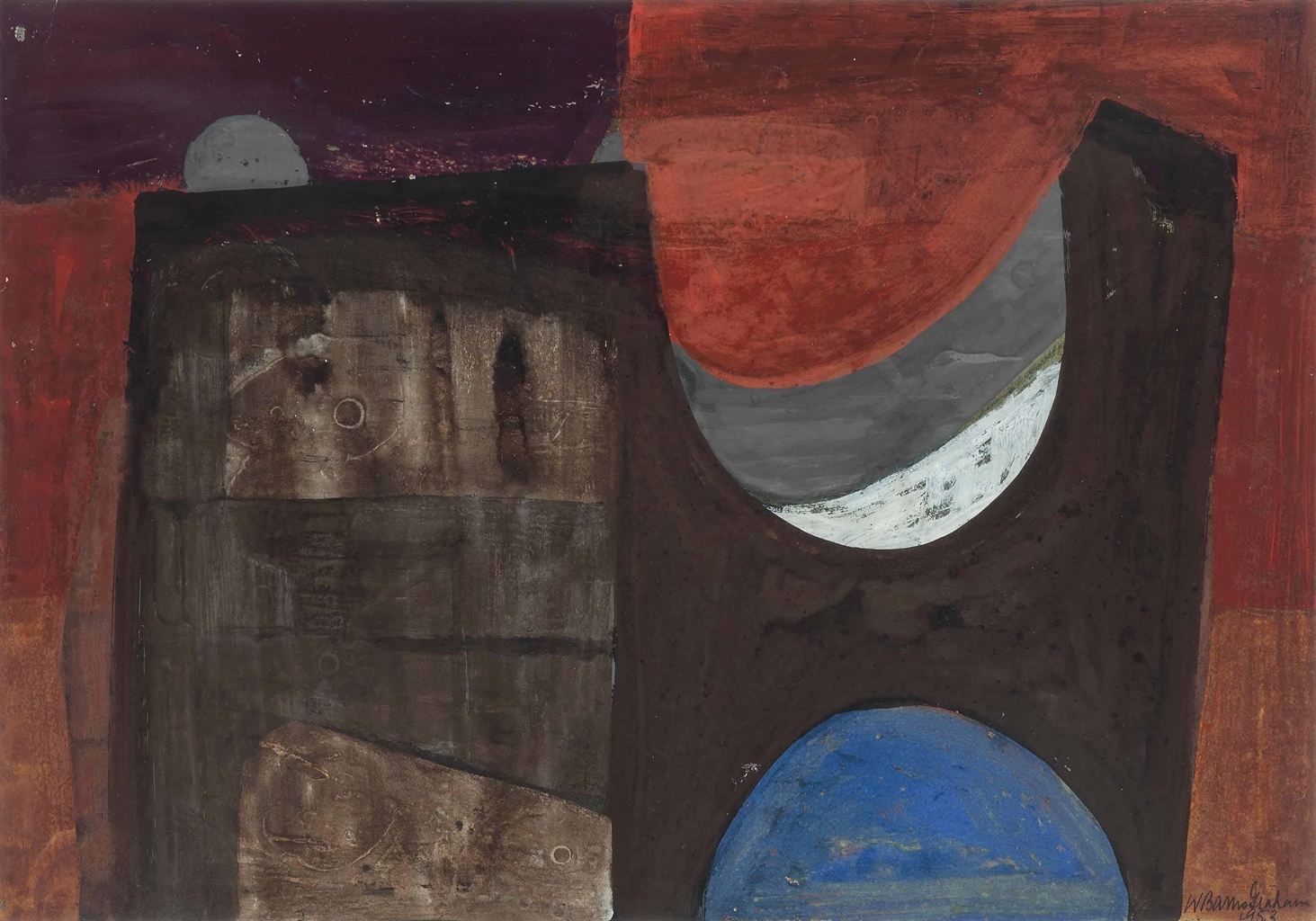 Wilhelmina Barns-Graham-Brown Form on Red-1953