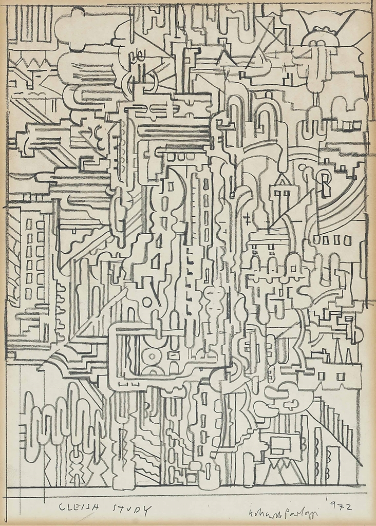 Eduardo Paolozzi-Cleish study; and two abstract compositions-1972