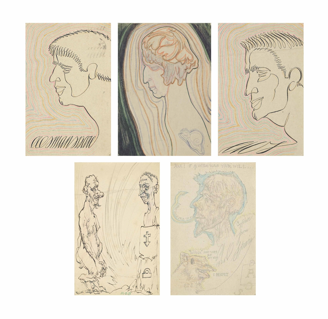 Austin Osman Spare-Five hand-illustrated postcards-1927