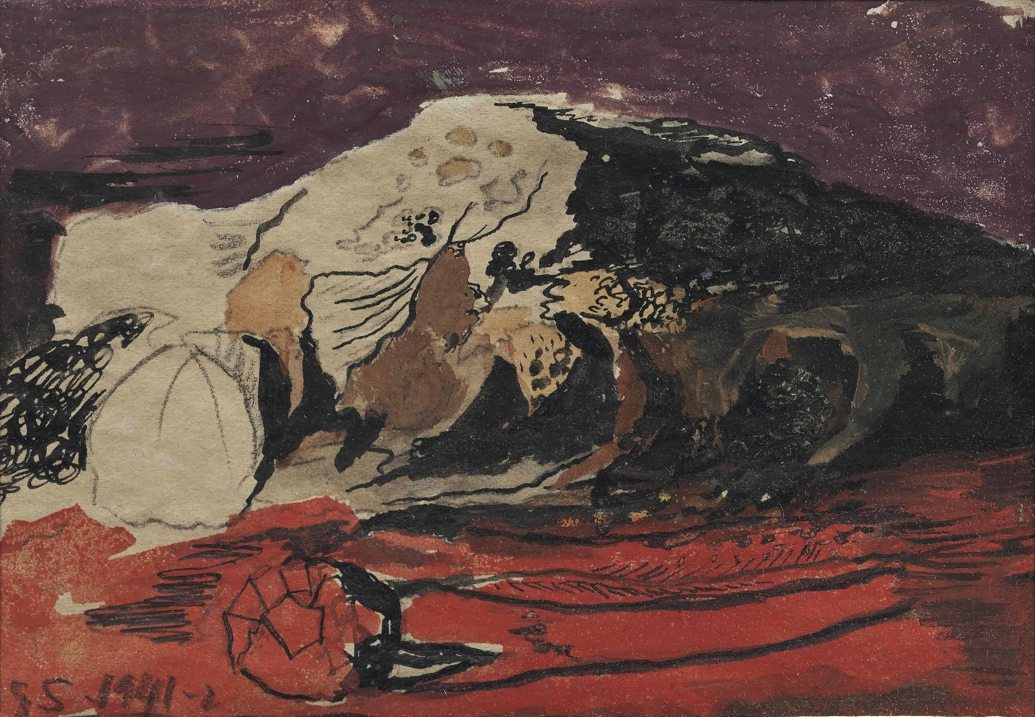 Graham Sutherland-Study for Red Landscape-1942