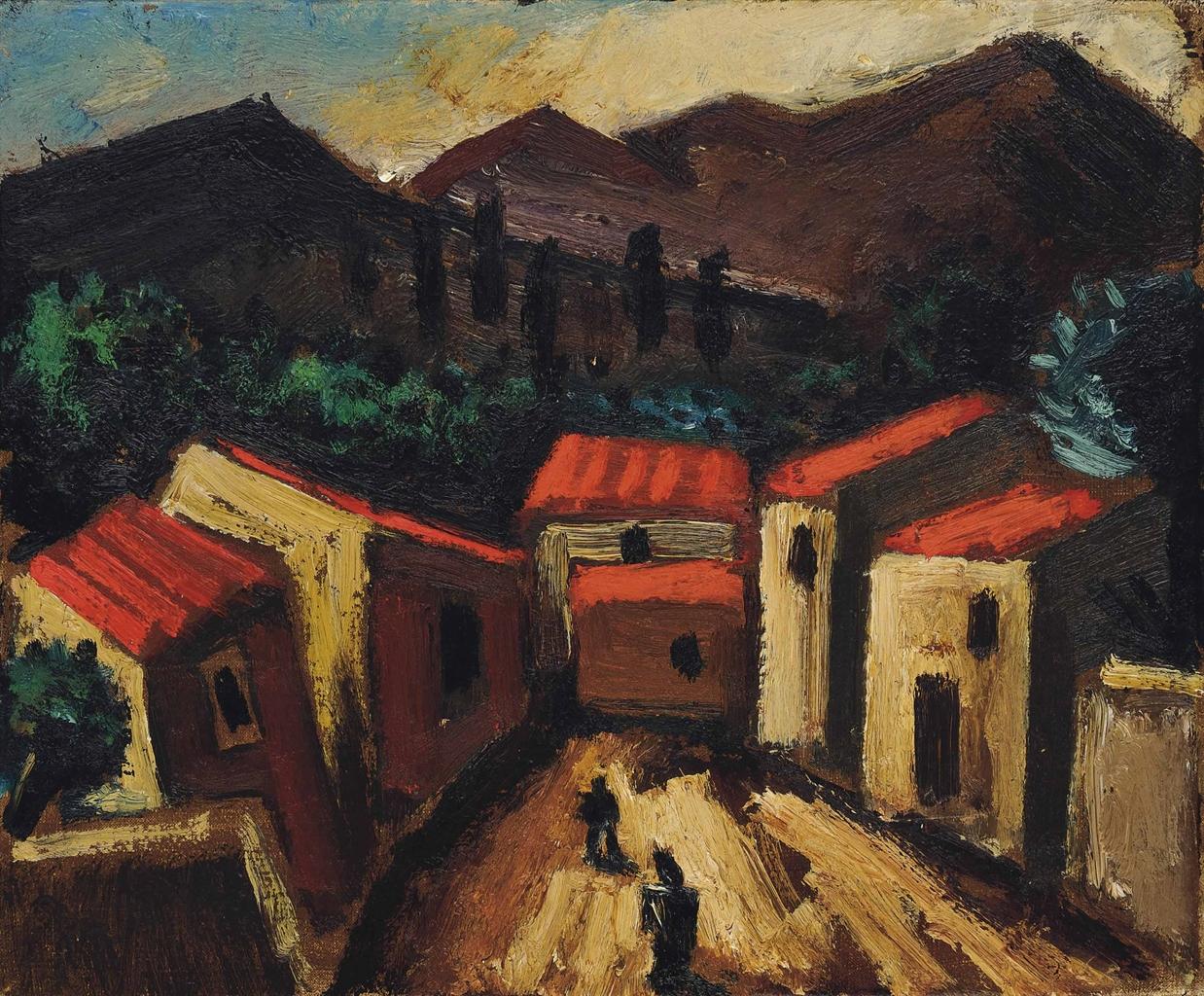Josef Herman-Mountain Landscape with Village Spain-1968