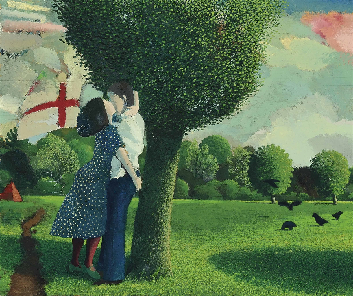 David Inshaw-Lovers near Kew Gardens-1976