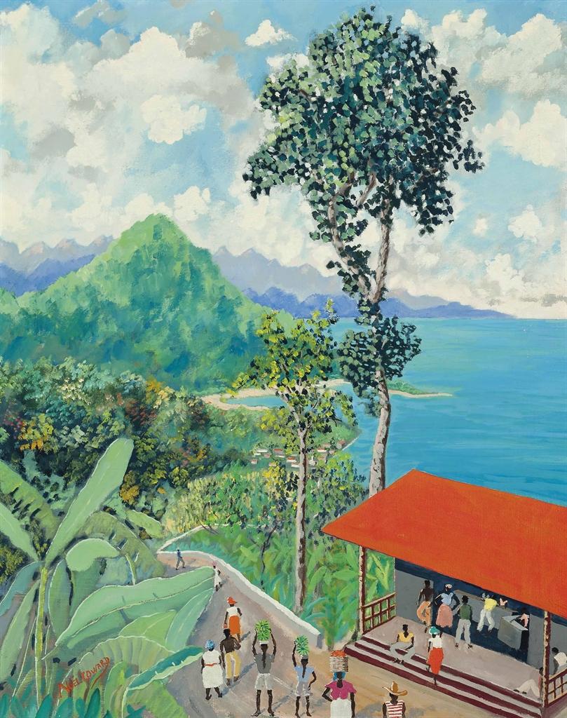 Noel Coward-Jamaican Coastline with Red Roof Shack-