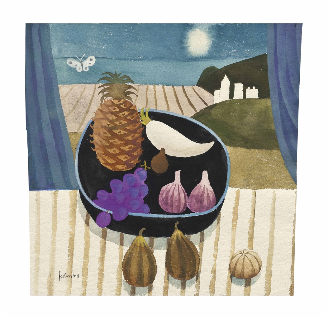 Mary Fedden-Moonlit still life with butterfly-2008