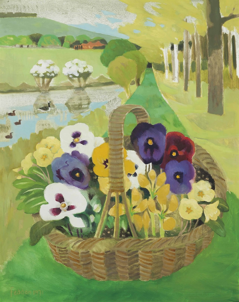 Mary Fedden-Pansies by the lake Glyndebourne-1991