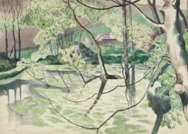 John Nash-Weeping willows in a pond