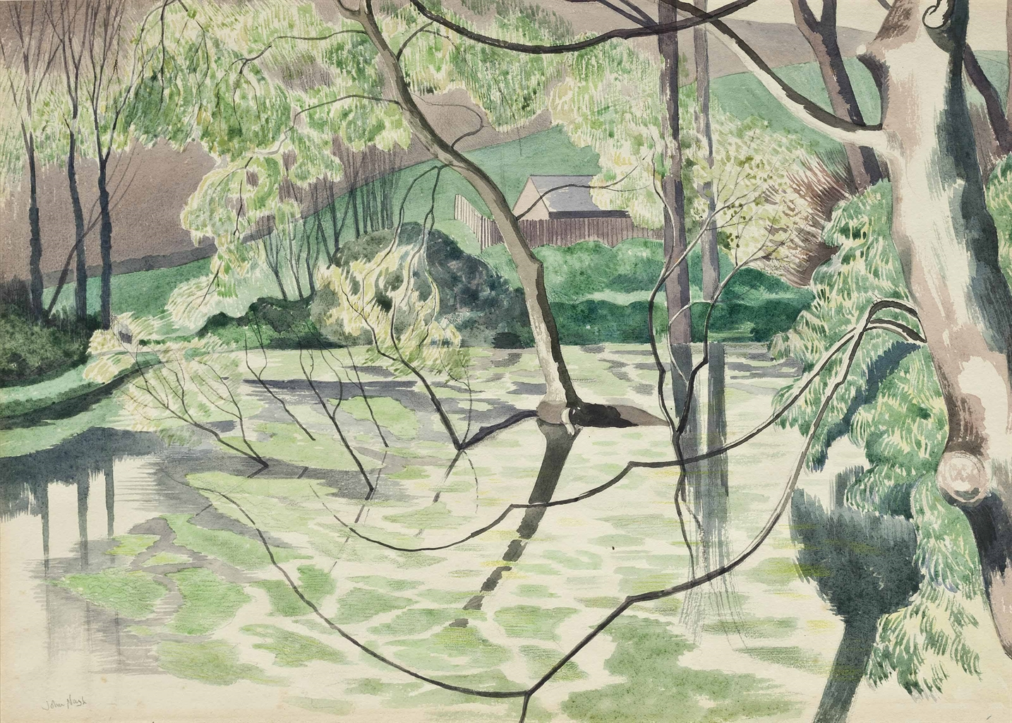 John Nash-Weeping willows in a pond-