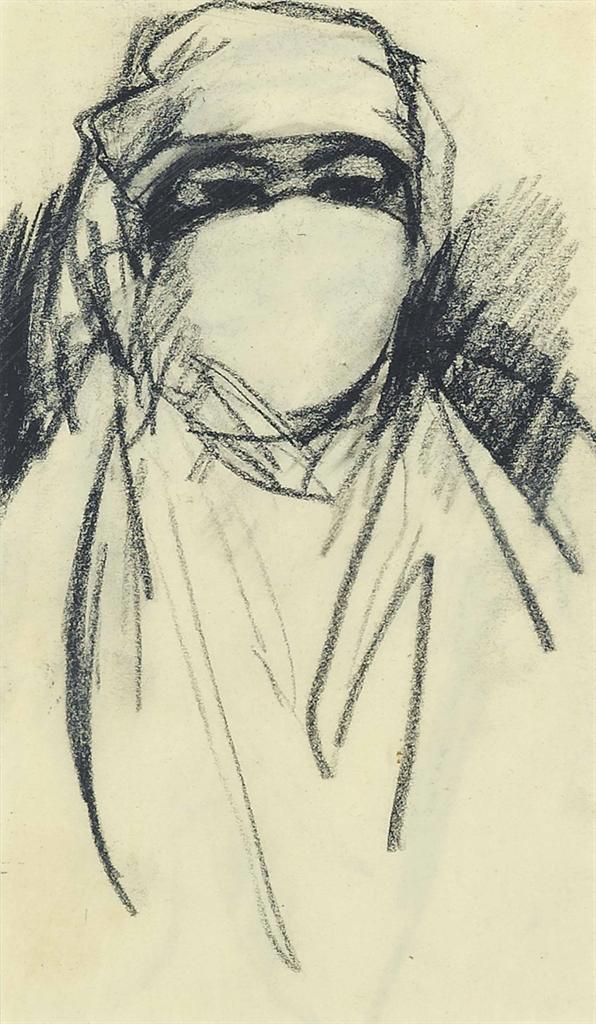 John Duncan Fergusson-Une Femme Berbere avec voile Paris-1910