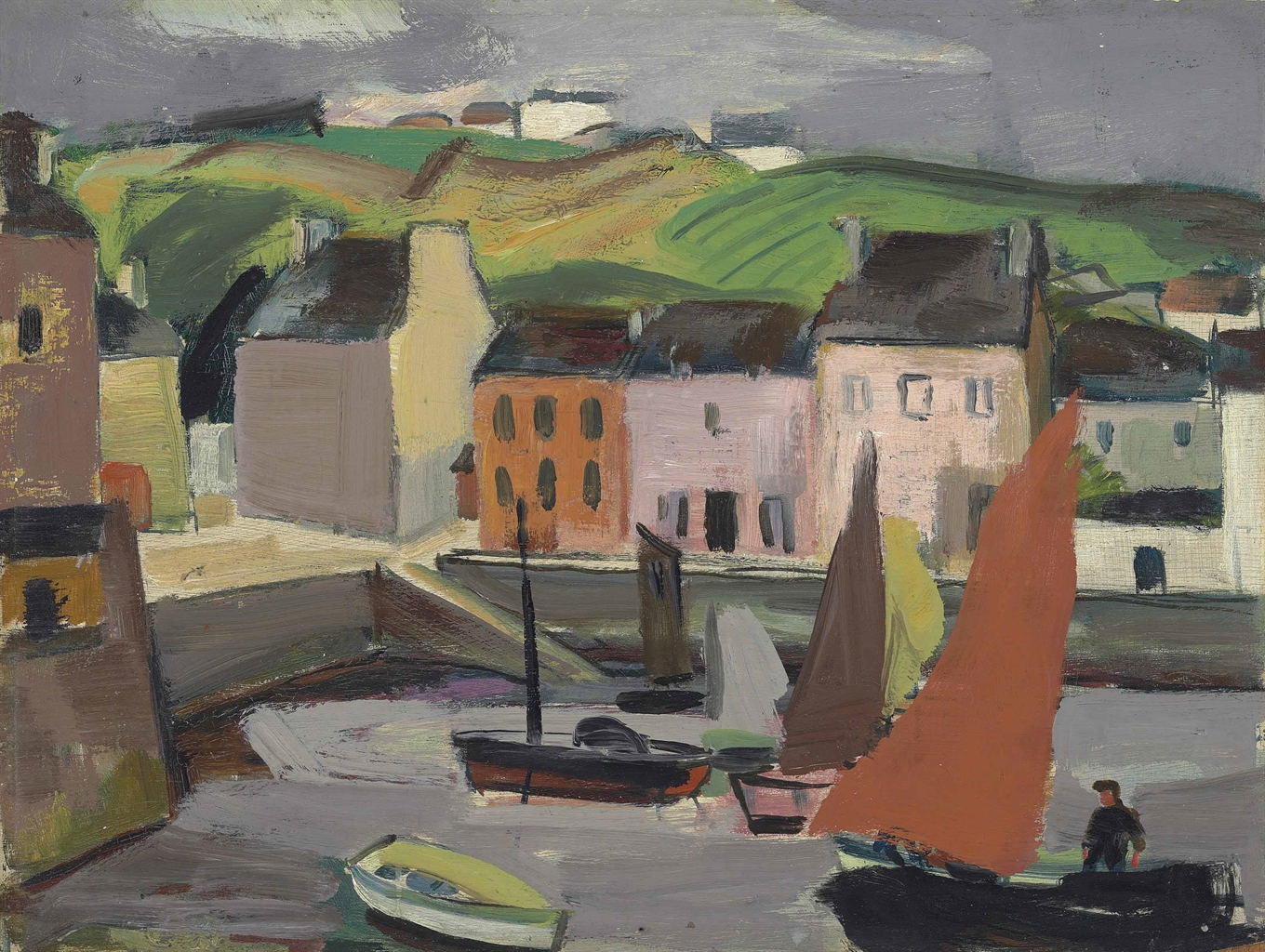 Anne Estelle Rice-Boats in the harbour Brittany-1930
