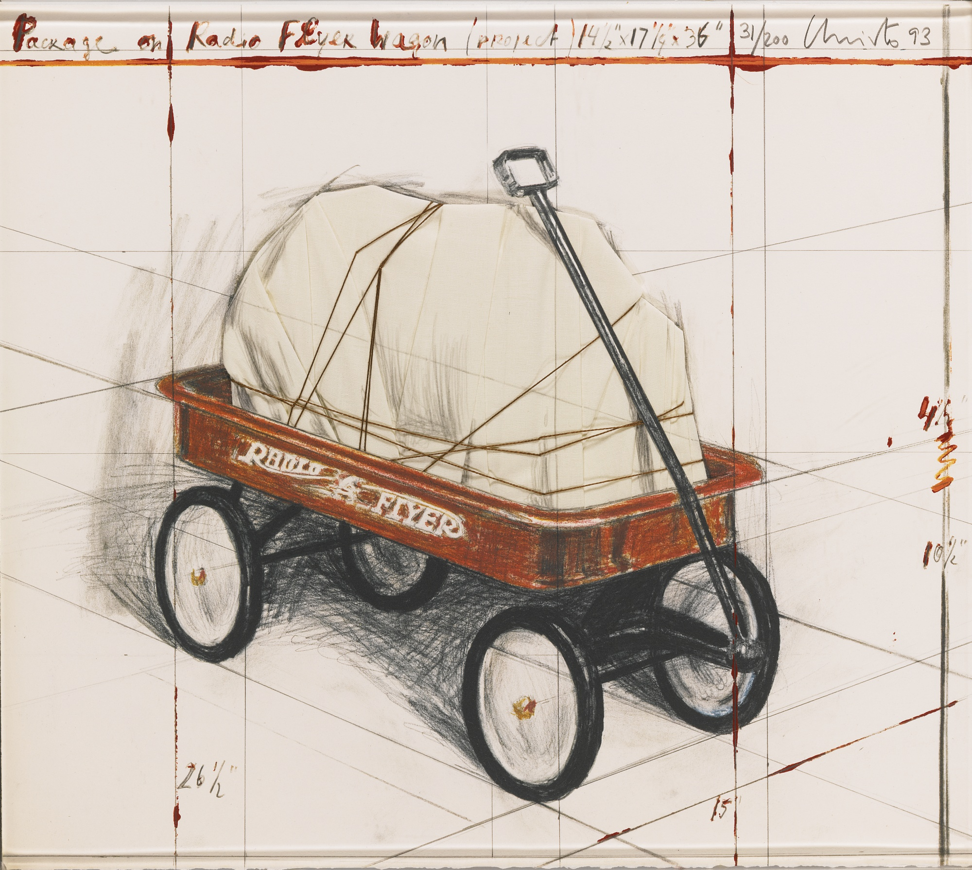 Christo and Jeanne-Claude-Package On Radio Flyer Wagon Project (Schellmann 163)-1993