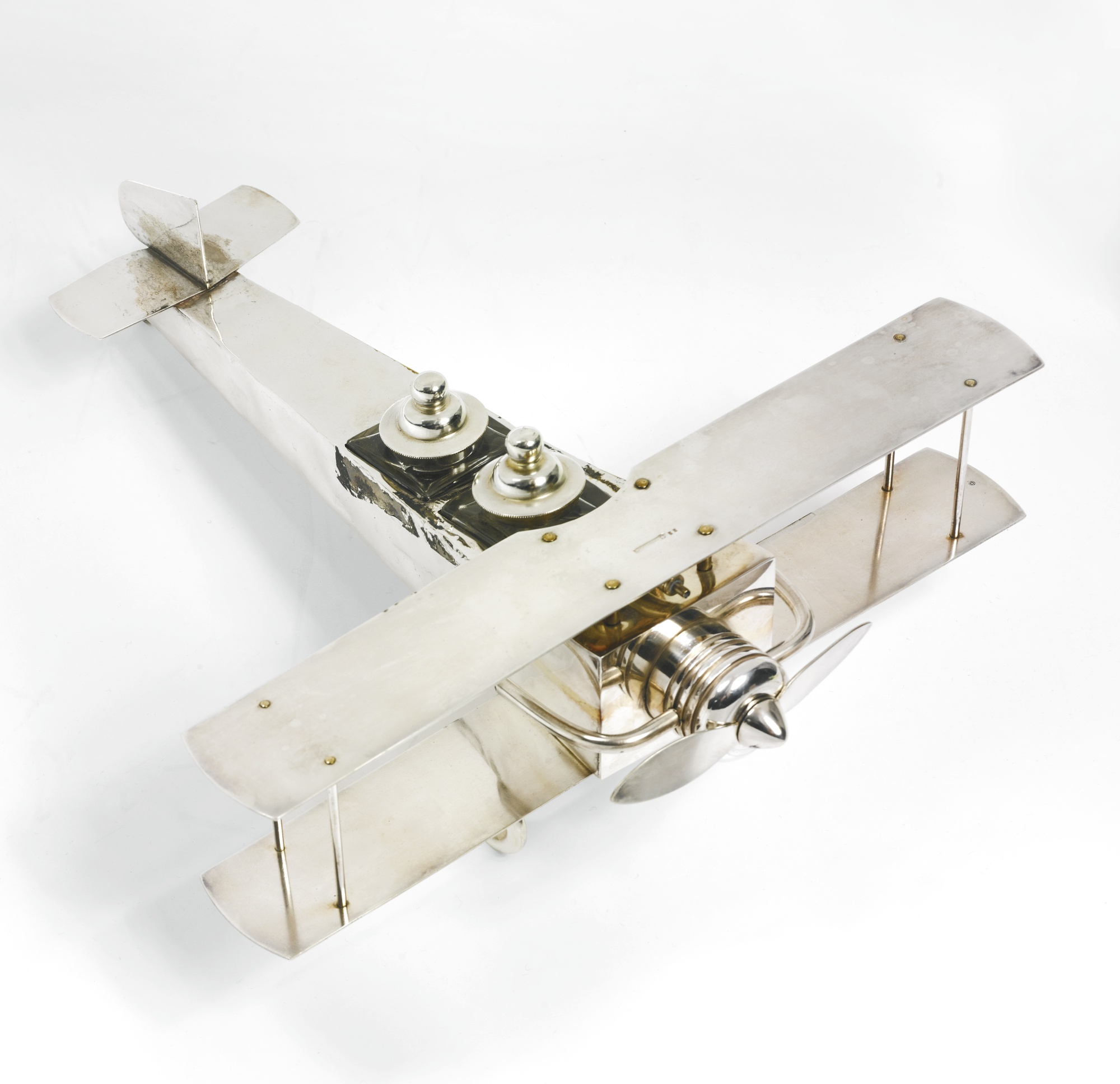 Belgian Art Deco Airplane Inkstand-1930