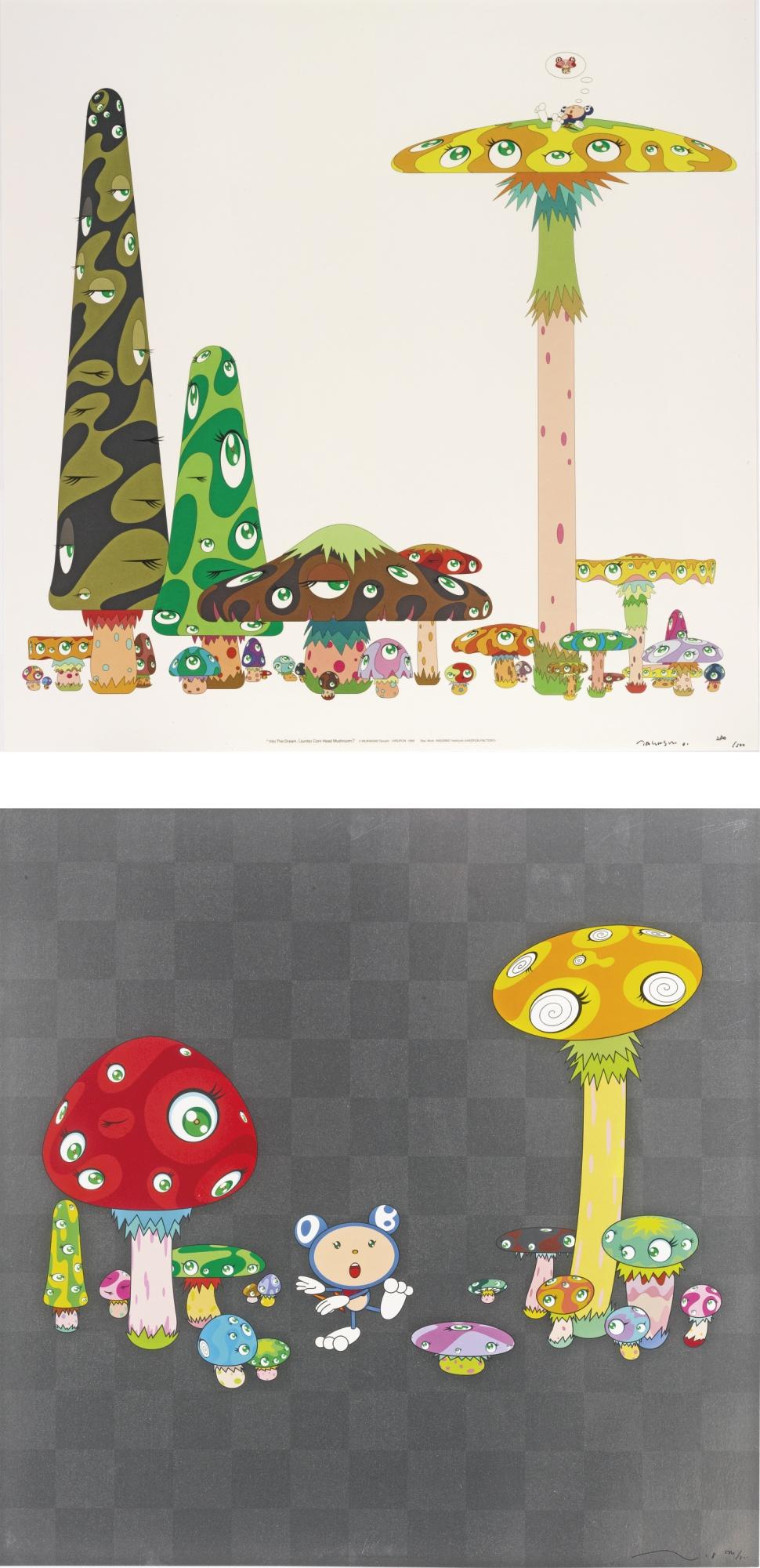 Takashi Murakami-Into The Dream Jumbo Corn Head Mushroom And Guru Guru: 2 Prints-2001