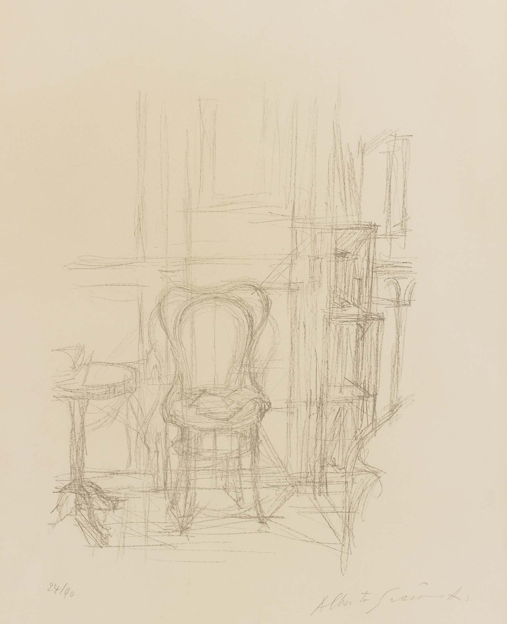 Alberto Giacometti-Chaise Et Gueridon (Lust 33)-1960