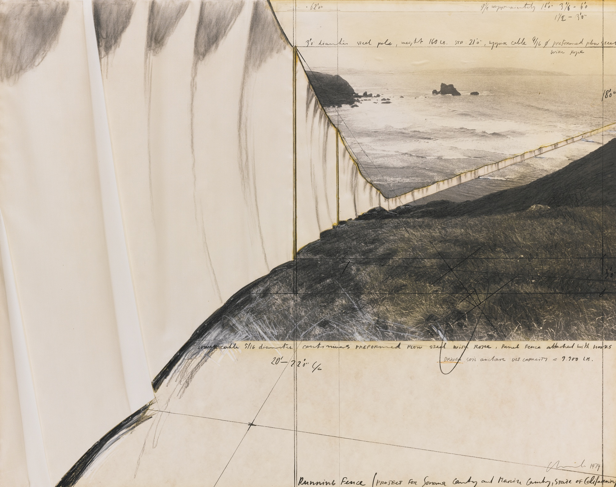 Christo and Jeanne-Claude-Running Fence (Project For Sonoma County And Marin County State Of California)-1974