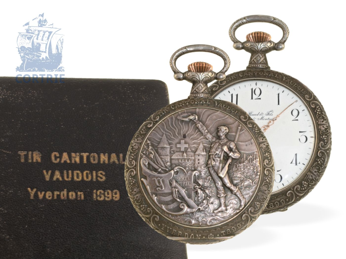 Pocket watch: very rare Art Nouveau marksman watch Tir Cantonal Vaudois Yverdon 1899, Emile Baud & Fils Sentier 1899, with original box-