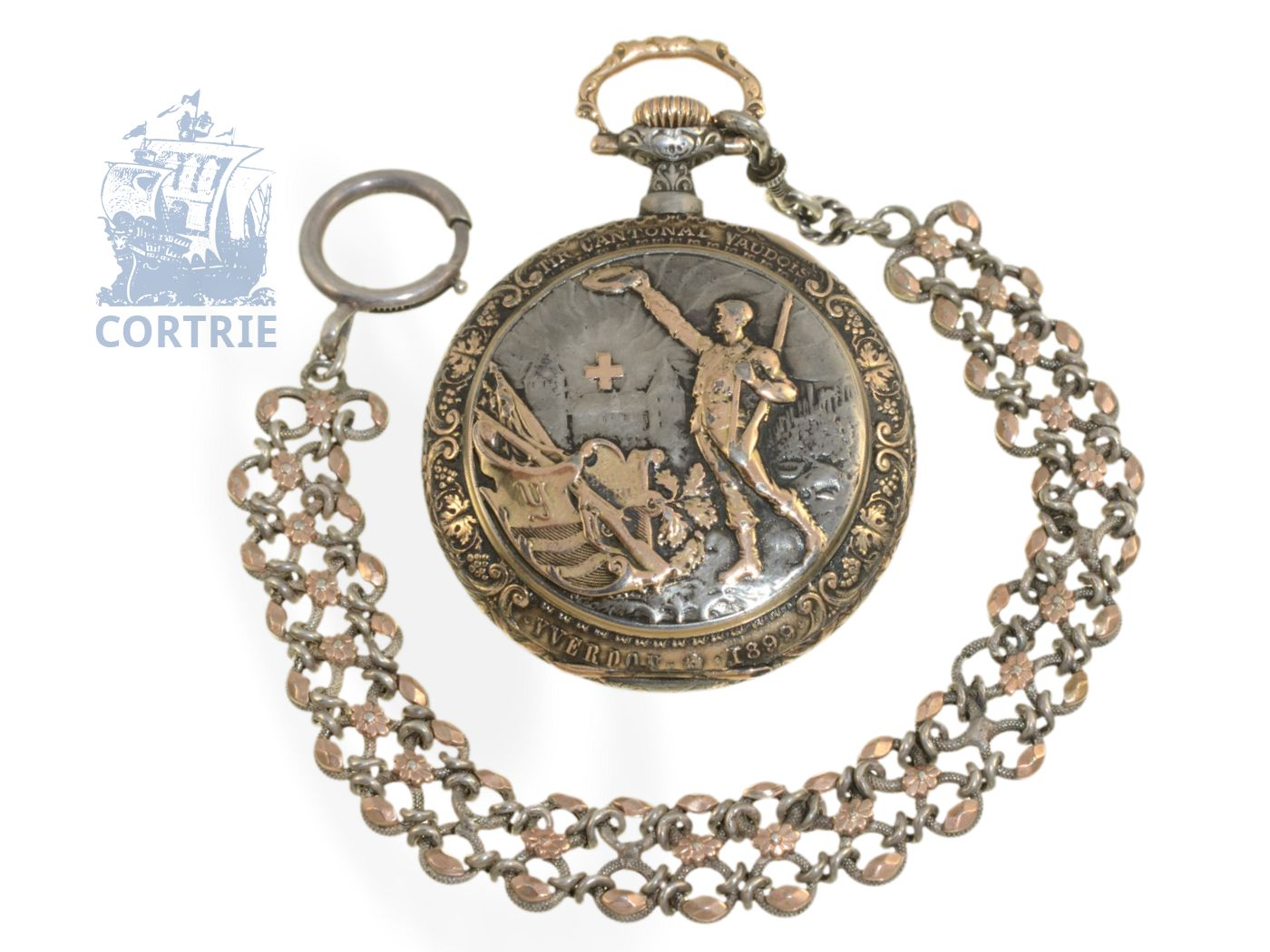 Pocket watch: rare Art Nouveau marksmen watch Tir Cantonal Vaudois Yverdon1899, Ankerchronometer Piguet-Capt Brassus-