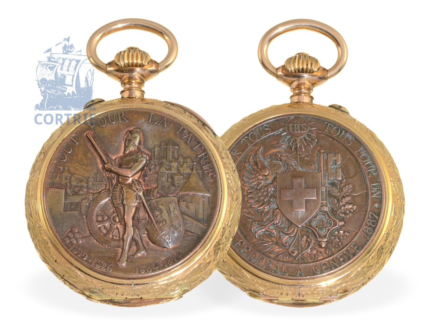 Pocket watch: extremely rare and early marksmen watch Tir Federal a Geneve 1887, Ankerchronometer F. Perrenoud Geneve 1887-