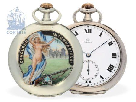 Pocket watch: extremely rare Omega marksman watch with enamel case, Tir Federal Argentino- Concurso Internacional, ca. 1905-