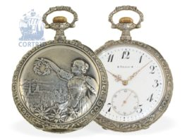 Pocket watch: big and decorative Art Nouveau marksmen watch, precision movement,