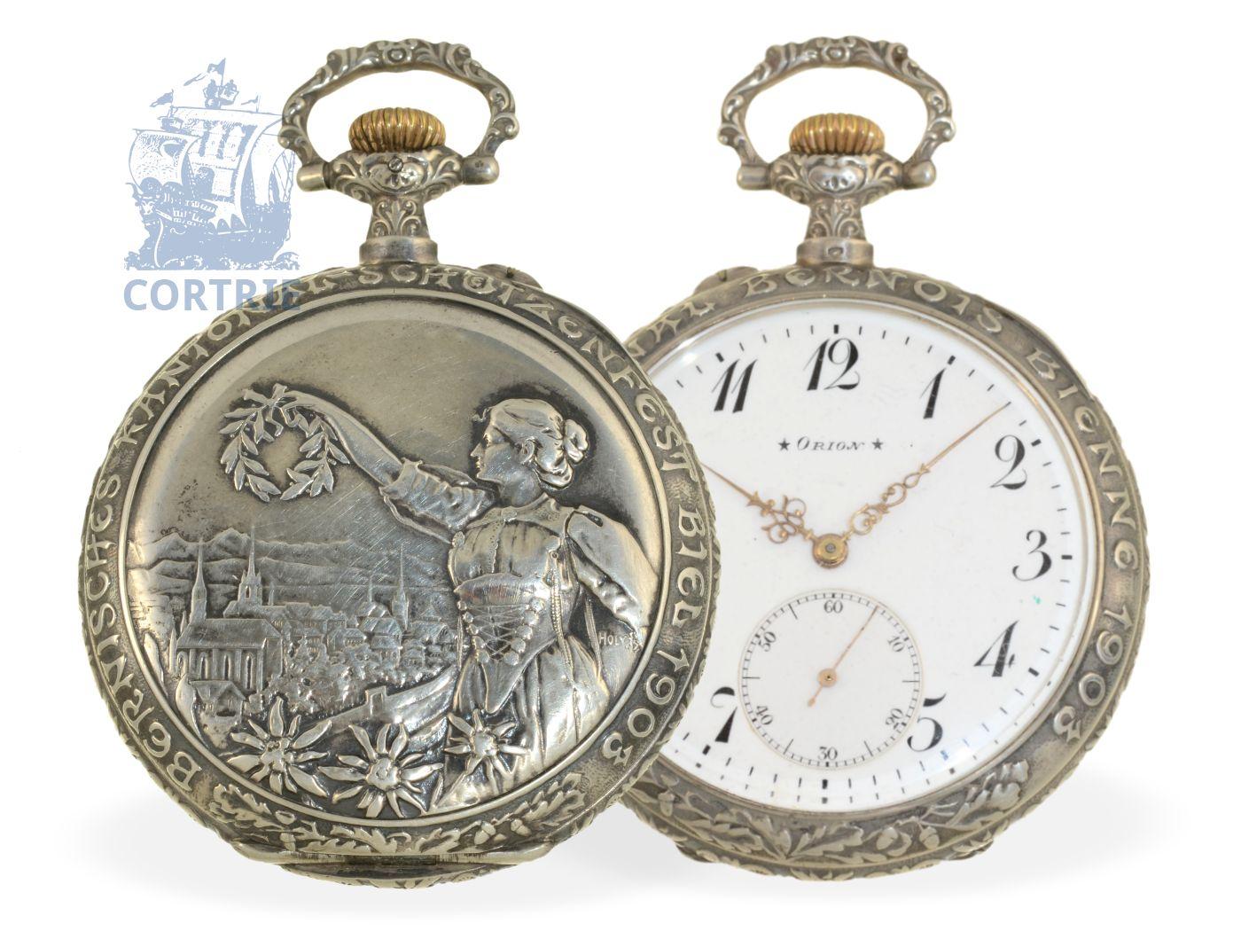 Pocket watch: big and decorative Art Nouveau marksmen watch, precision movement, Bern shooting matches Biel 1903-