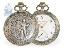Pocket watch: very decorative Art Nouveau marksman watch, Tir Cantonal Genevois 1602-1902, Rodolphe Uhlmann & Cie, Geneva and La Chaux-de-Fonds 1902
