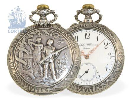 Pocket watch: very decorative Art Nouveau marksman watch, Tir Cantonal Genevois 1602-1902, Rodolphe Uhlmann & Cie, Geneva and La Chaux-de-Fonds 1902-