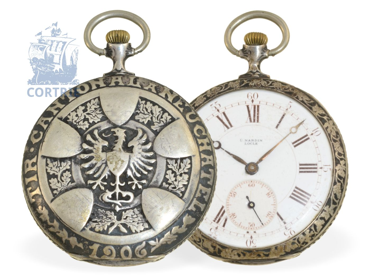Pocket watch: very rare Art Nouveau marksman watch Tir Cantonal a Neuchatel 1906, fine precision lever movement Ulysse Nardin Locle-