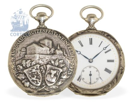 Pocket watch: Art Nouveau marksman watch, Shooting Matches Weinfelden 1913, very fine precision movement Havila Watch Co. SA / Rene Houriet Geneva-