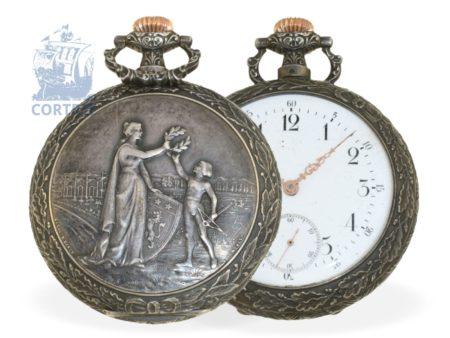 Pocket watch: very rare Art Nouveau marksman watch, Lyon Mai 1897, Omega/Louis Brandt & Frere 1897-