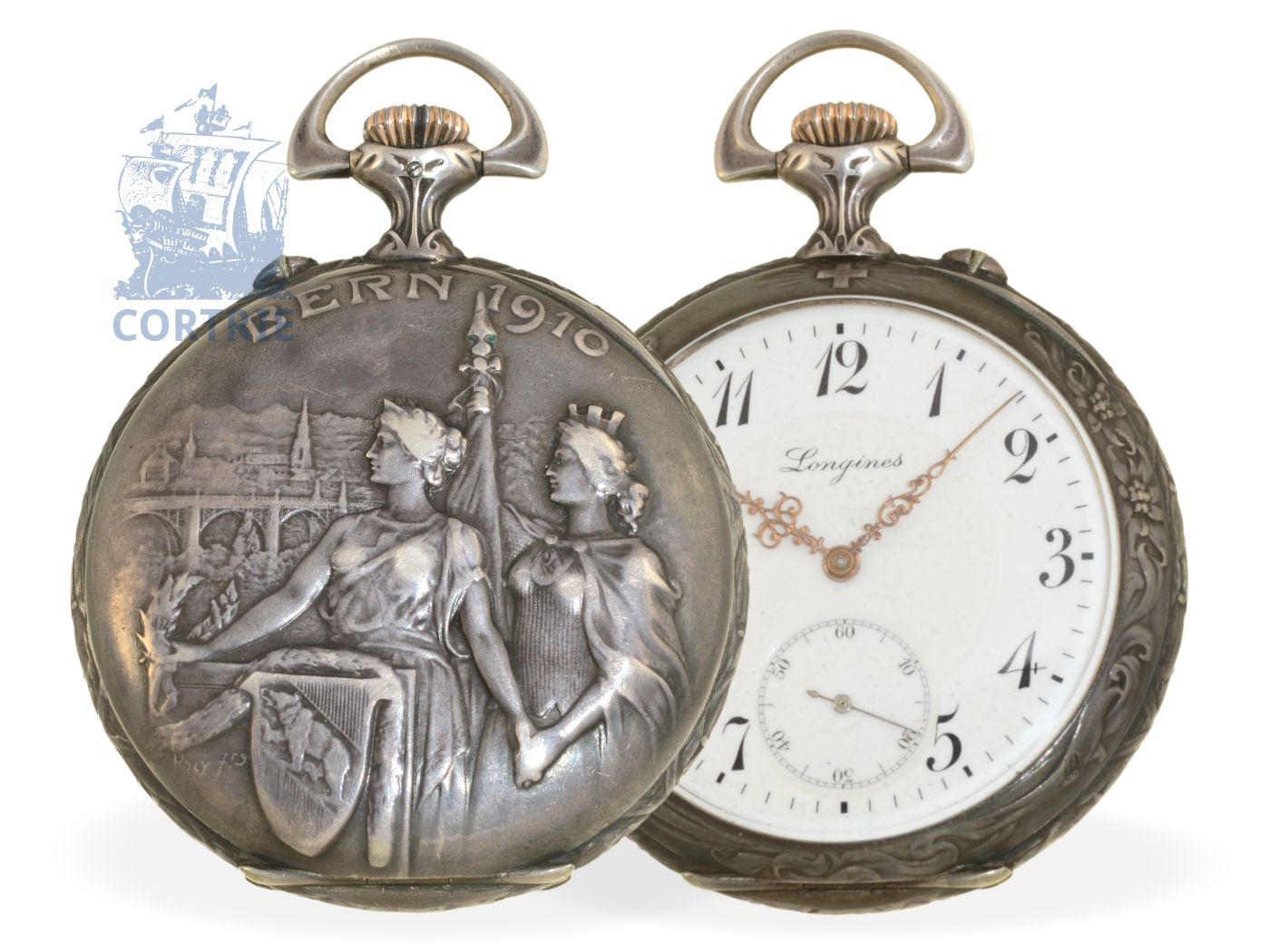 Pocket watch: extremely rare marksman watch, excellent condition, Ankerchronometer Longines, Bern 1910-