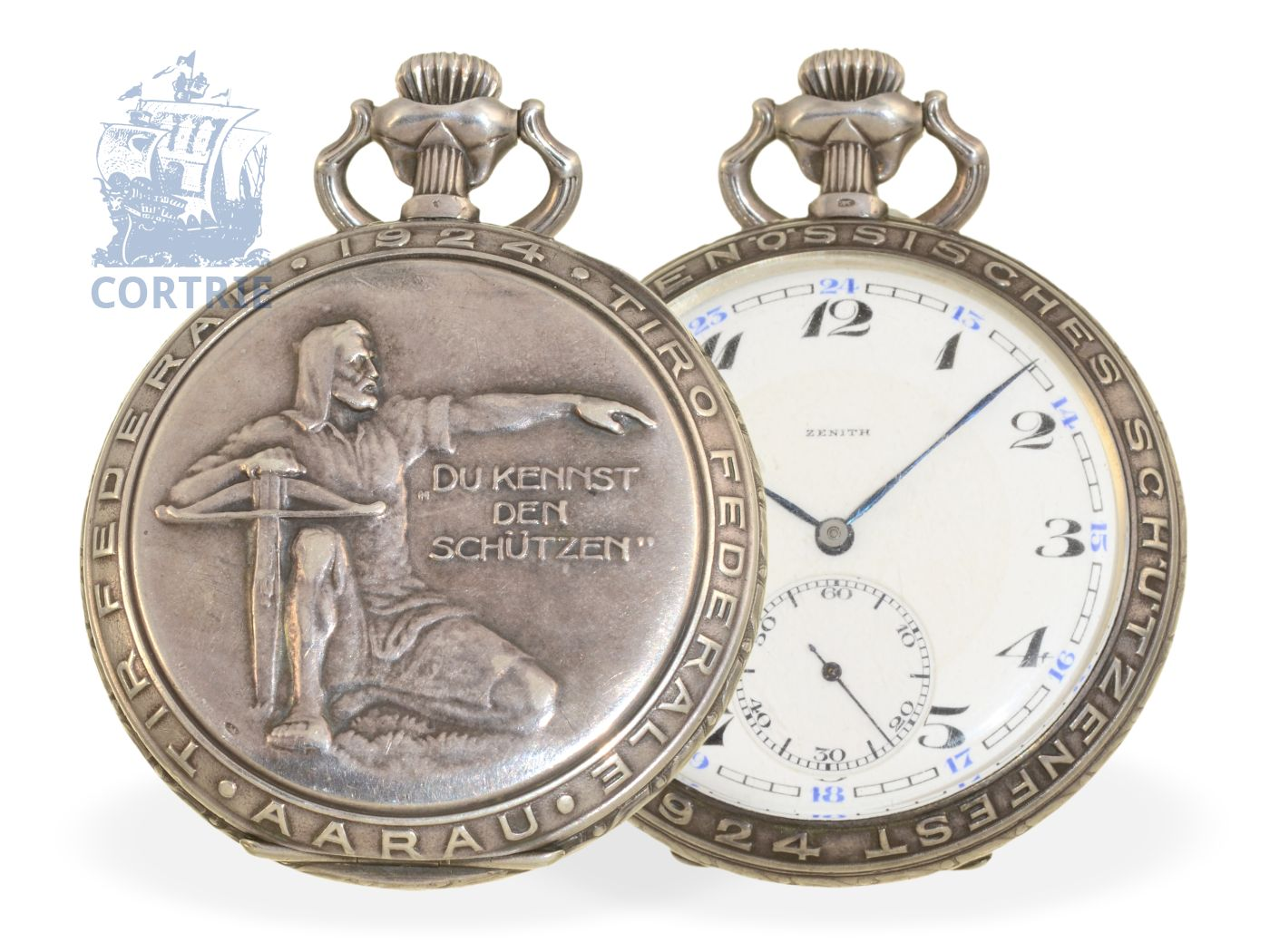 Pocket watch: very rare marksmen watch Tir Federal Aarau 1924, precision watch by Zenith-