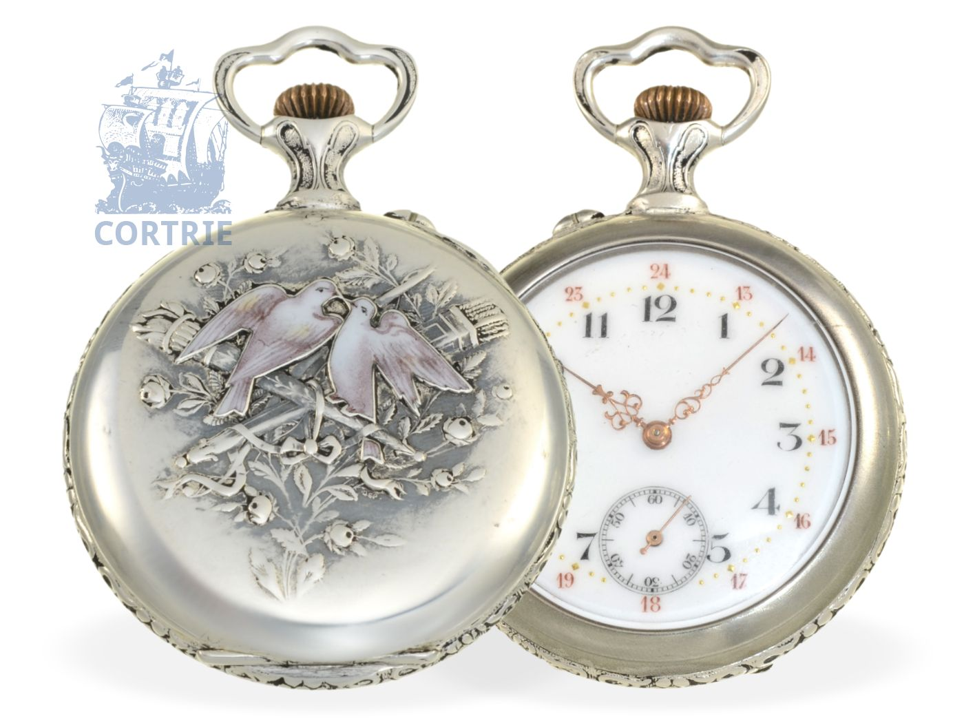 Pocket watch: very rare and beautiful Art Nouveau gentlemen's watch, silver/enamel case, G. Tribaudeau de Besancon No. 90283-