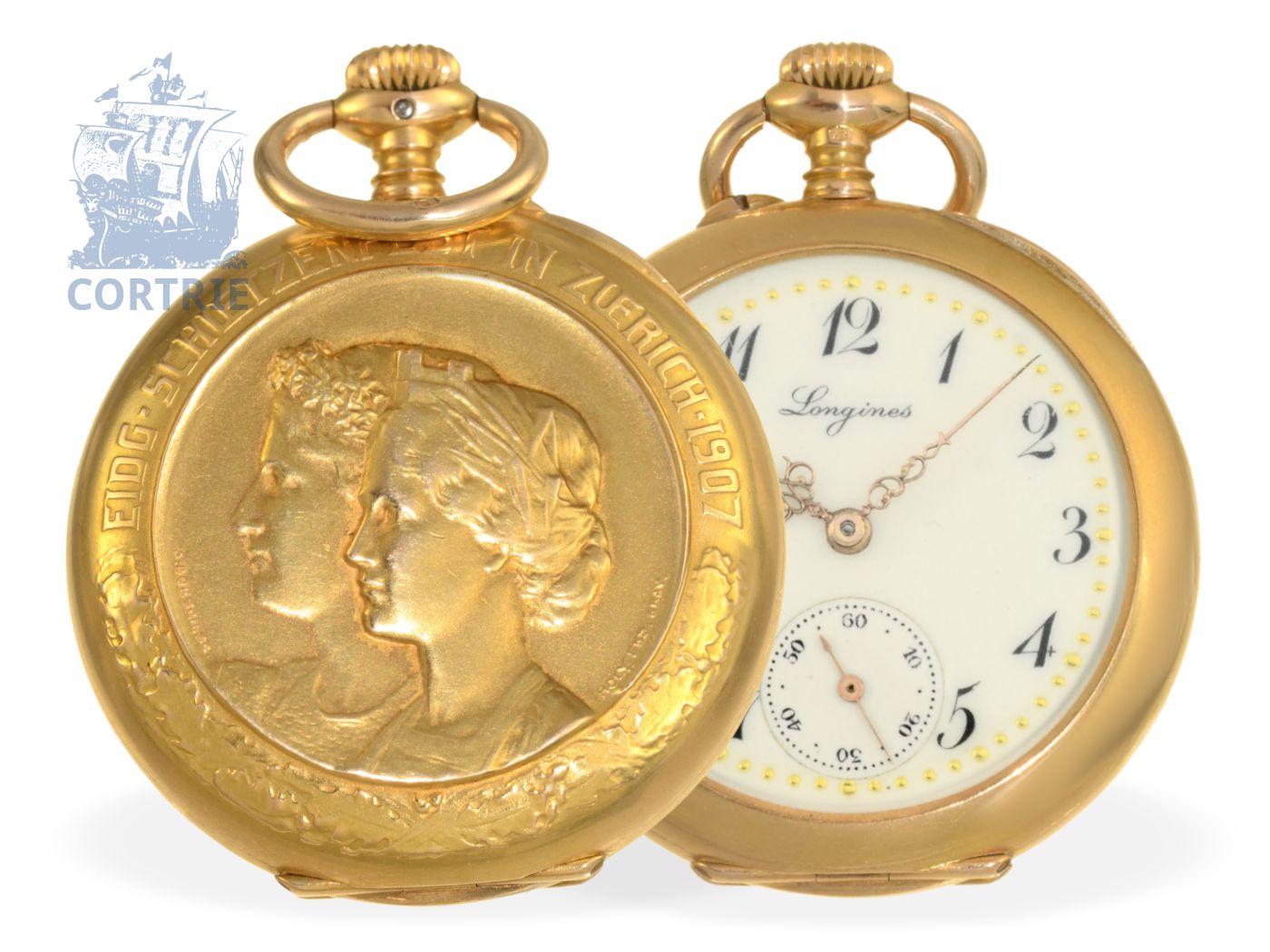 Pocket watch: very rare 18K marksmen watch Tir Federal, Zurich 1907, Longines 1907, rarity-